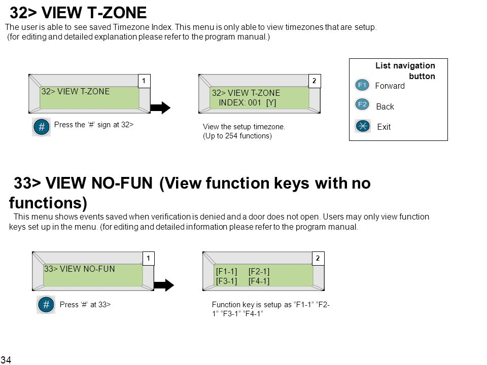 32> VIEW T-ZONE The user is able to see saved Timezone Index