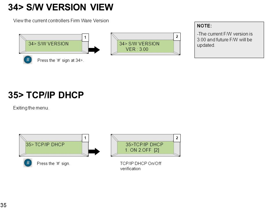35> TCP/IP DHCP Exiting the menu.