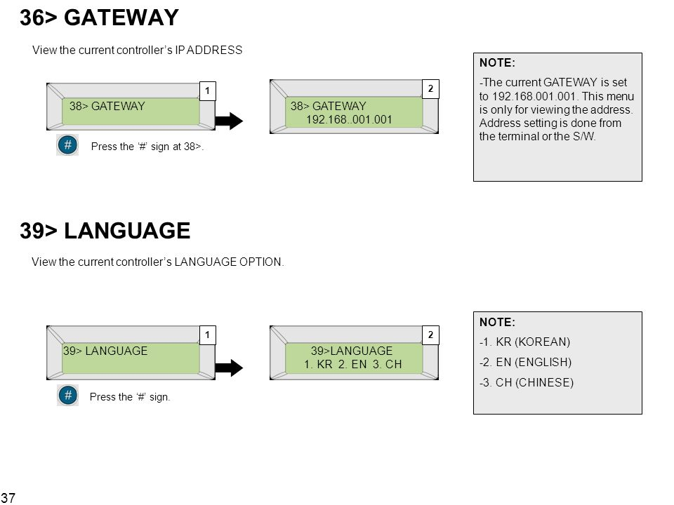 39> LANGUAGE View the current controller's LANGUAGE OPTION.