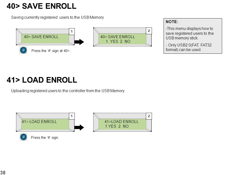 40> SAVE ENROLL Saving currently registered users to the USB Memory. NOTE: