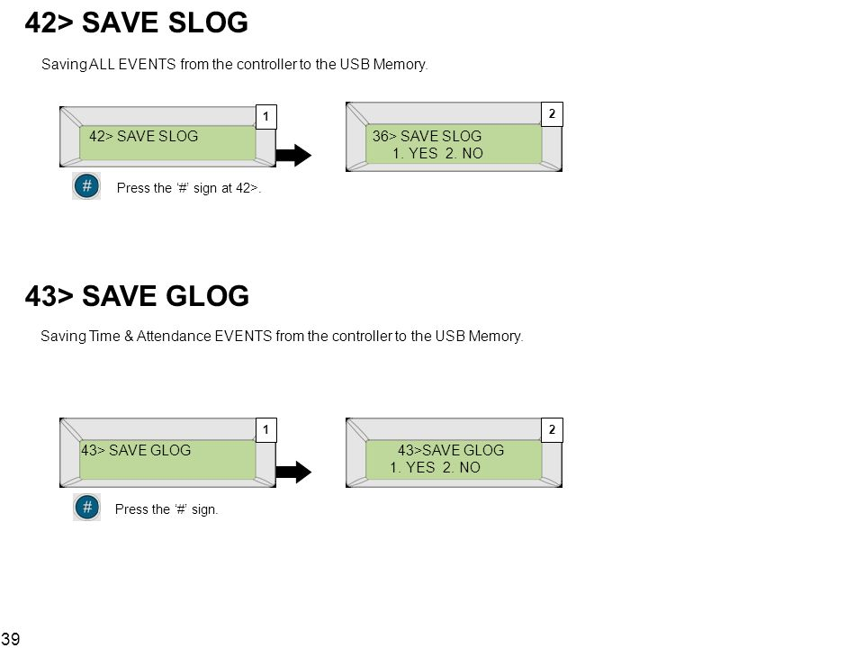 42> SAVE SLOG Saving ALL EVENTS from the controller to the USB Memory. 1. 2. 42> SAVE SLOG. 36> SAVE SLOG.