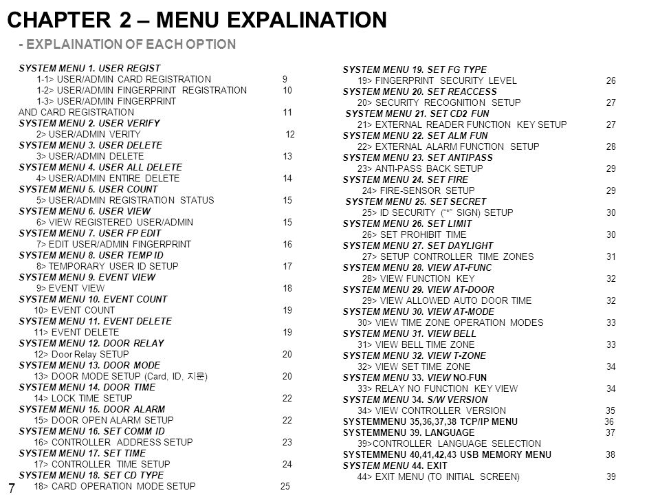 CHAPTER 2 – MENU EXPALINATION