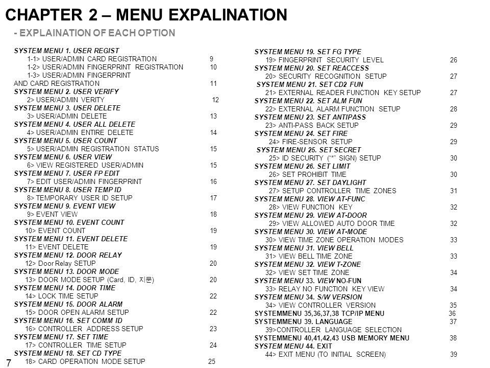 CHAPTER 2 – MENU EXPALINATION