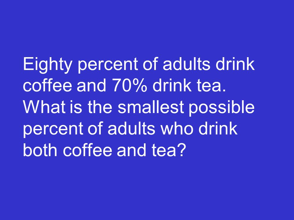 Eighty percent of adults drink coffee and 70% drink tea