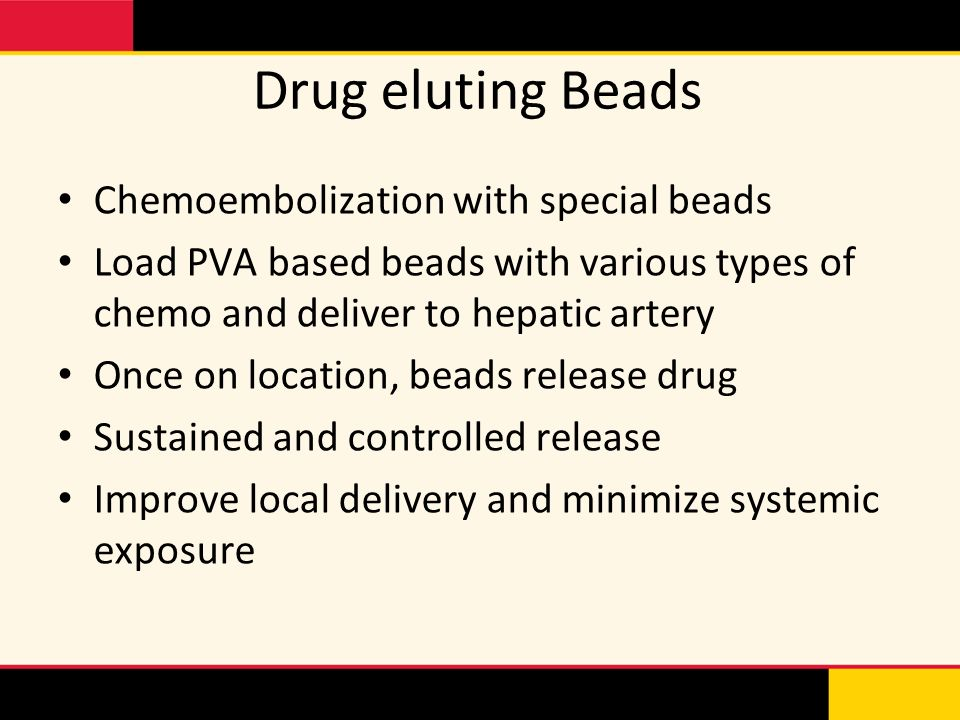 Drug eluting Beads Chemoembolization with special beads