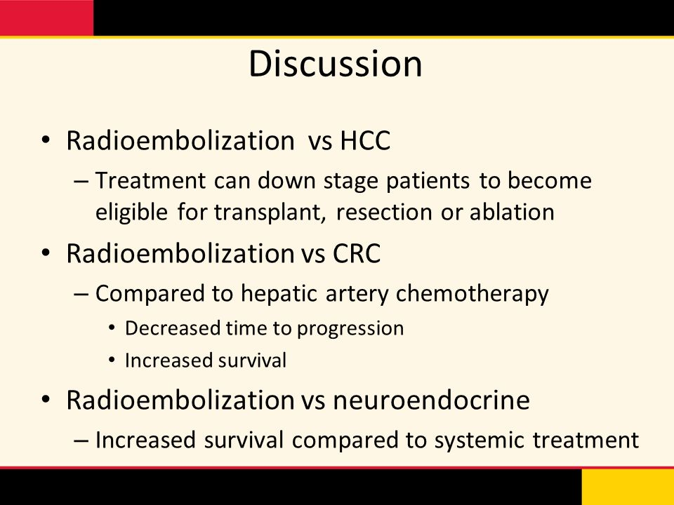 Discussion Radioembolization vs HCC Radioembolization vs CRC