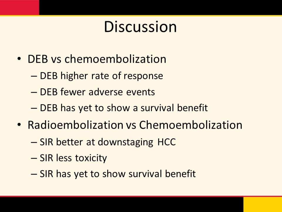 Discussion DEB vs chemoembolization