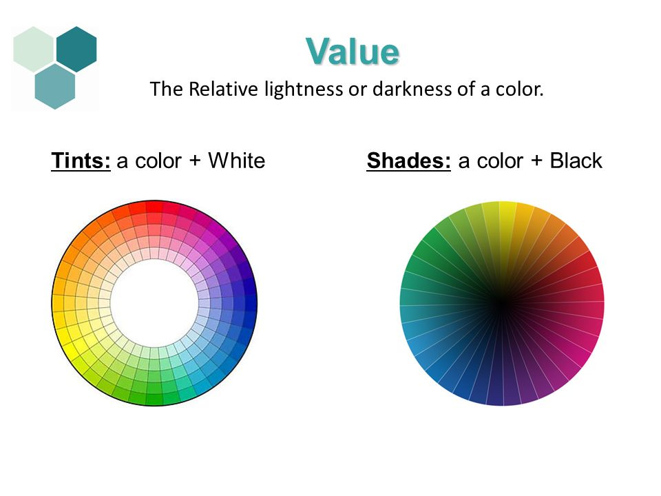 Value The Relative lightness or darkness of a color.