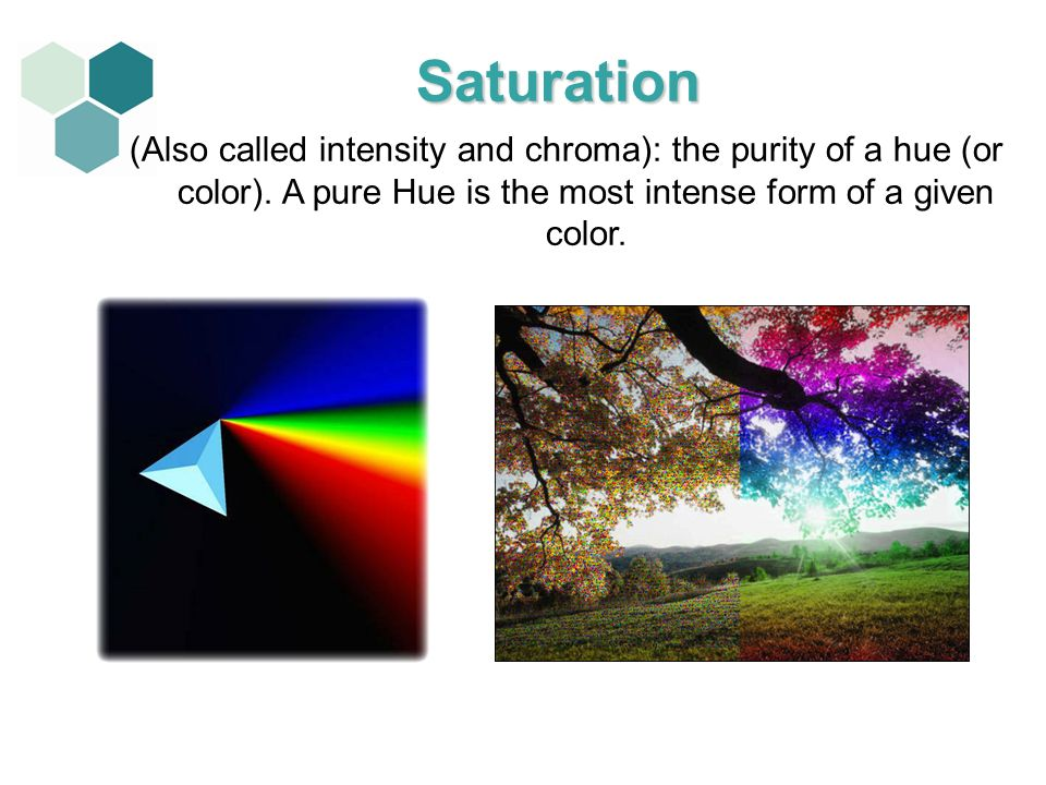 Saturation (Also called intensity and chroma): the purity of a hue (or color).