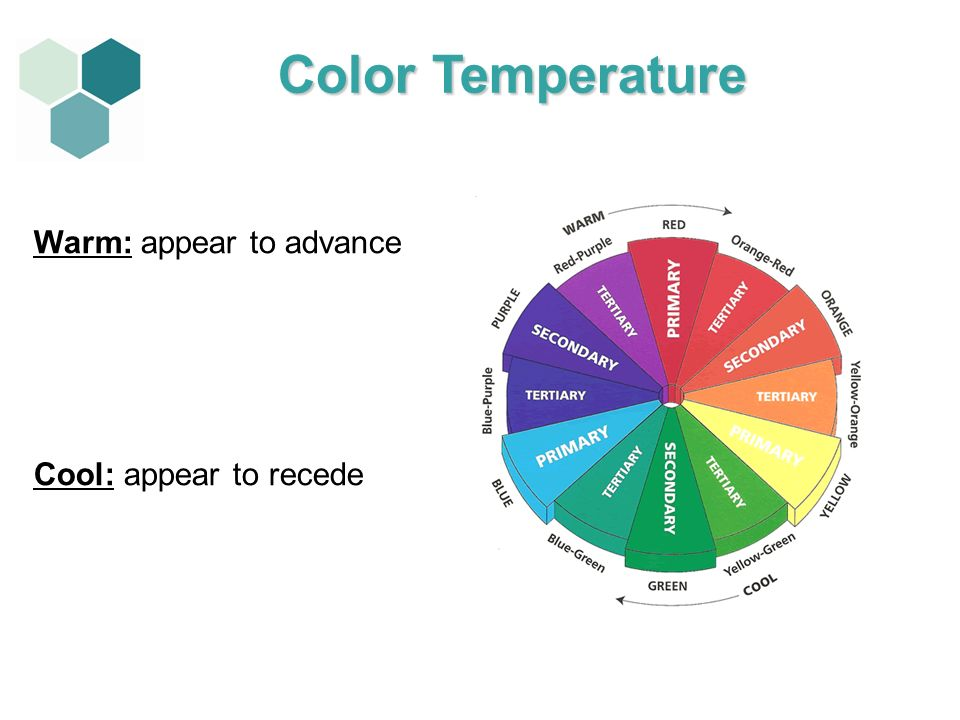 Color Temperature Warm: appear to advance Cool: appear to recede
