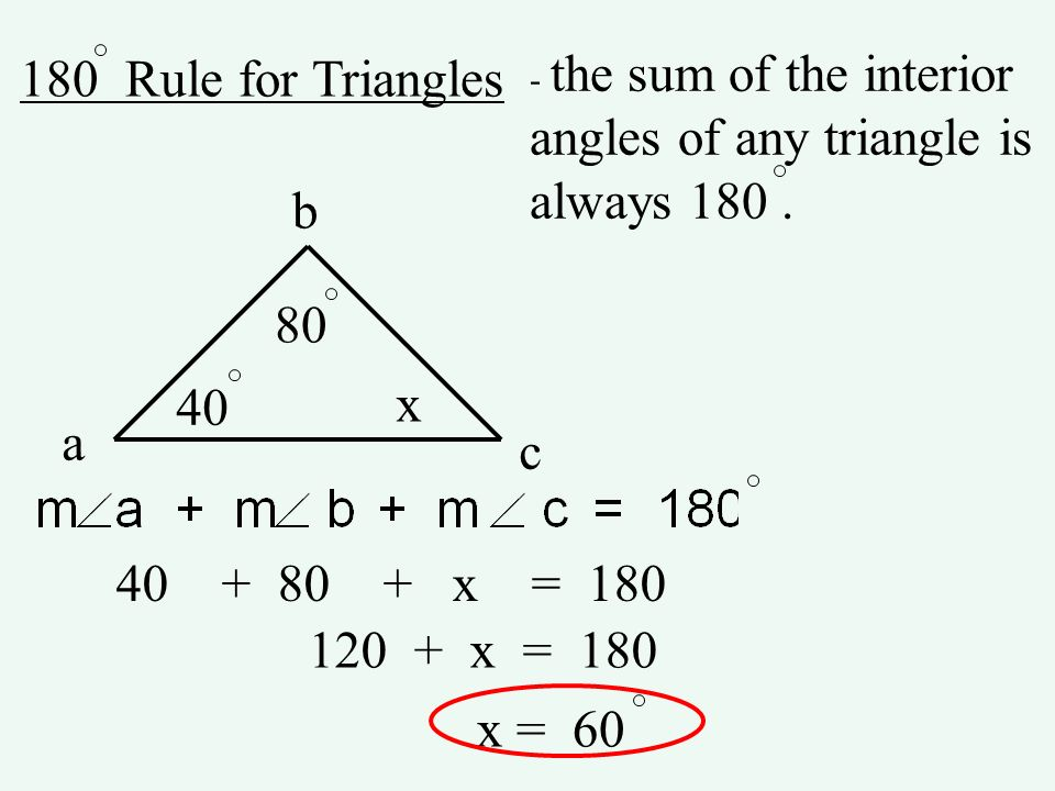angles of any triangle is always 180 . b