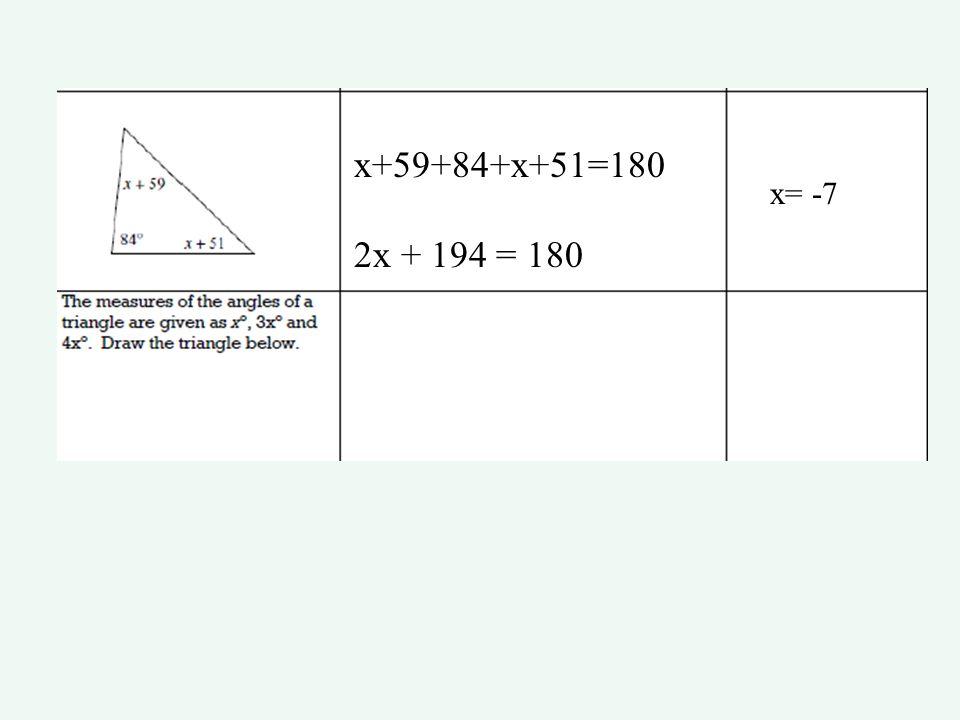 x+59+84+x+51=180 2x + 194 = 180 x= -7
