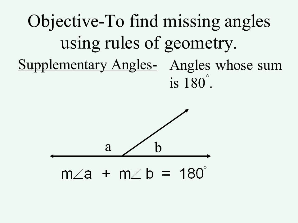Objective-To find missing angles using rules of geometry.