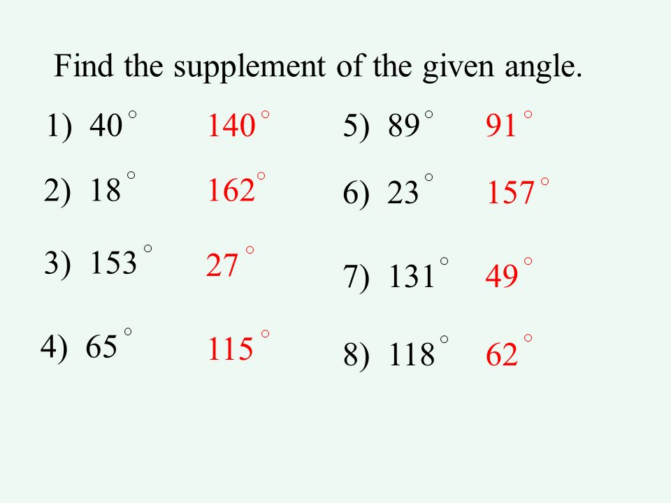 Find the supplement of the given angle.