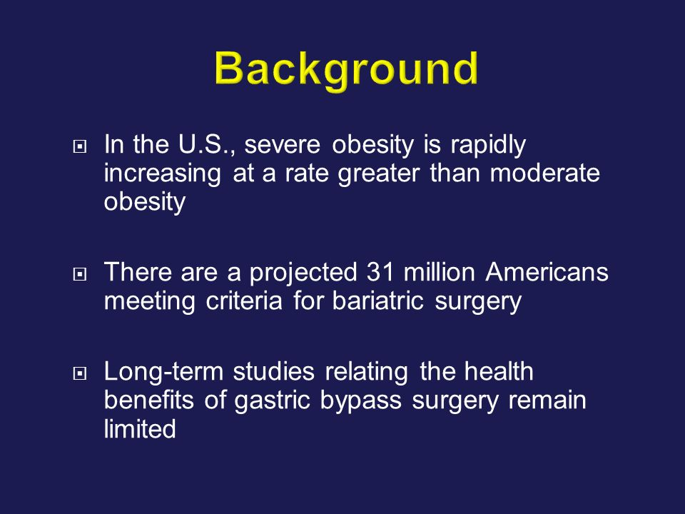 Background In the U.S., severe obesity is rapidly increasing at a rate greater than moderate obesity.