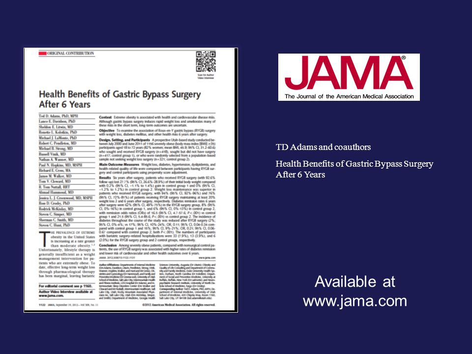 TD Adams and coauthors Health Benefits of Gastric Bypass Surgery After 6 Years