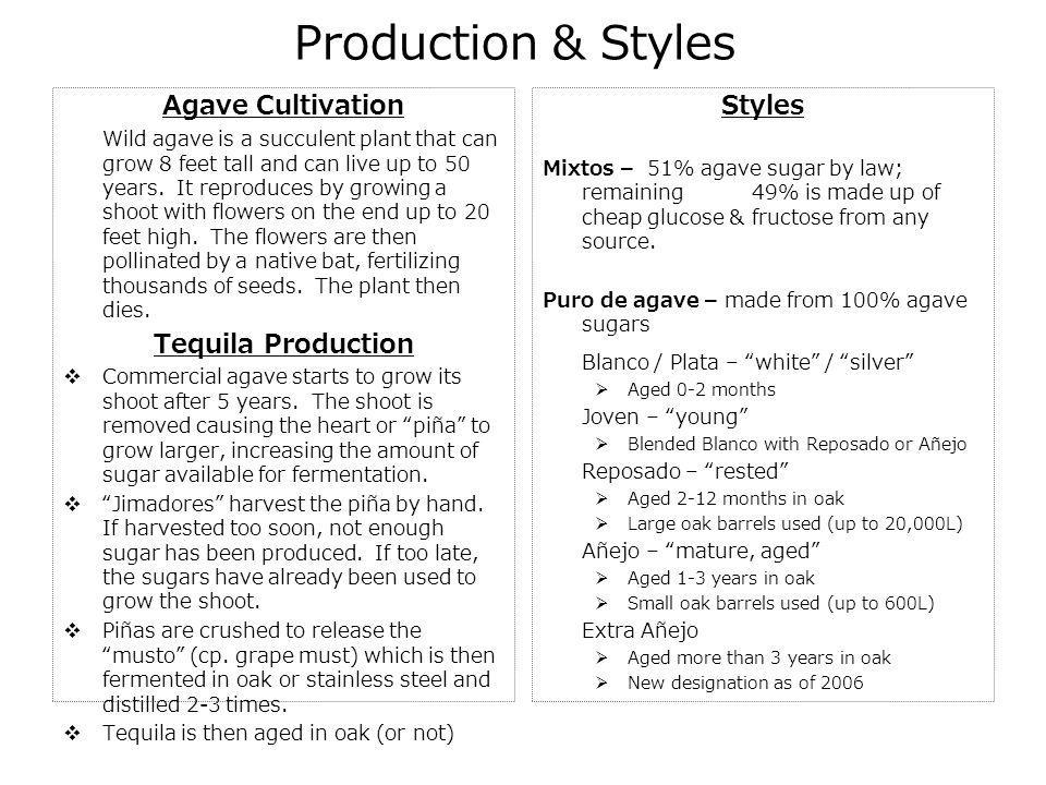 Production & Styles Agave Cultivation Tequila Production Styles