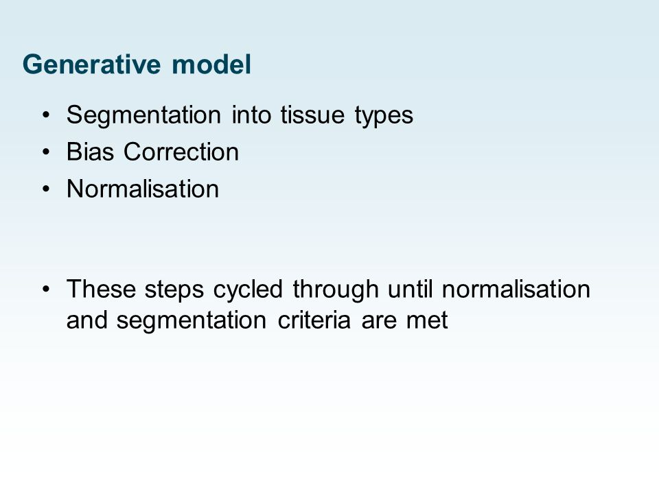 Generative model Segmentation into tissue types Bias Correction