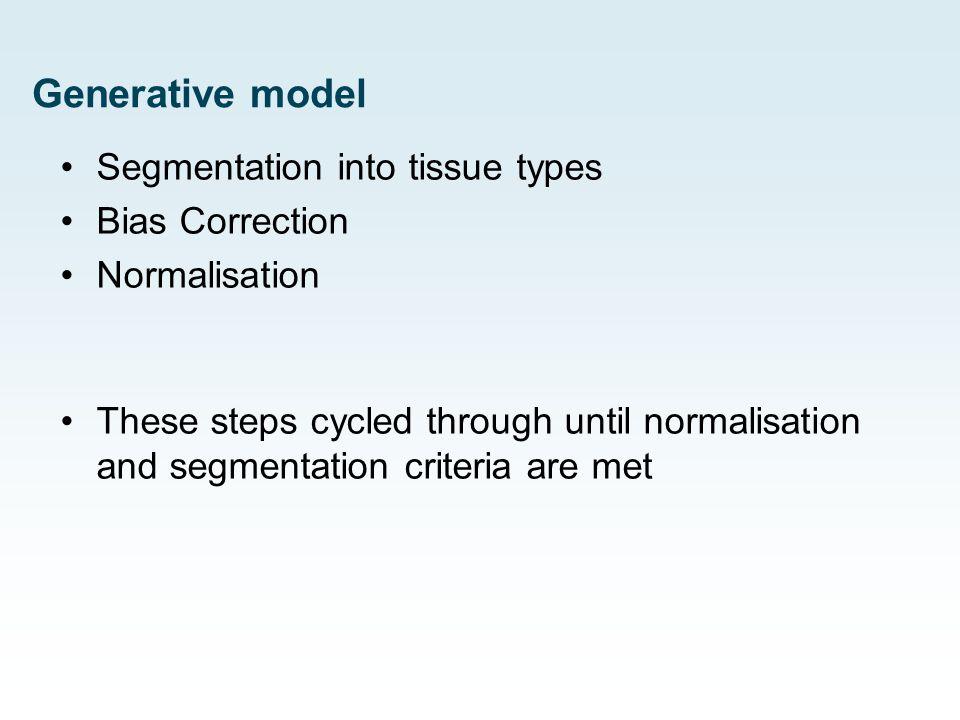 Generative model Segmentation into tissue types Bias Correction