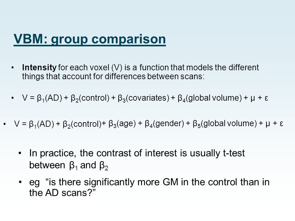 VBM: group comparison Intensity for each voxel (V) is a function that models the different things that account for differences between scans:
