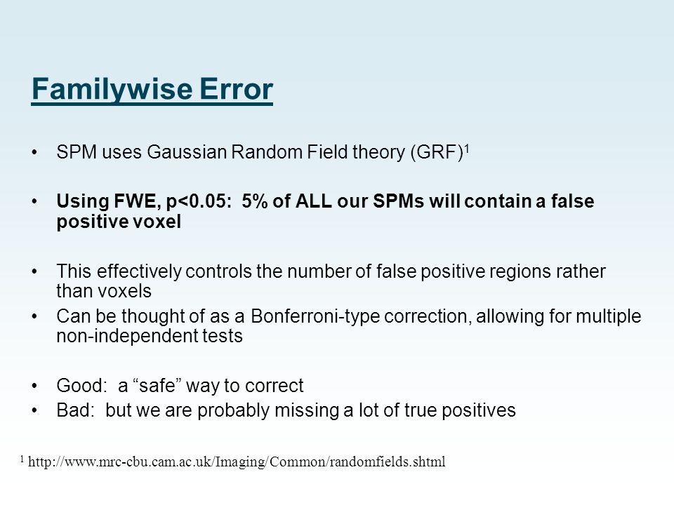 Familywise Error SPM uses Gaussian Random Field theory (GRF)1