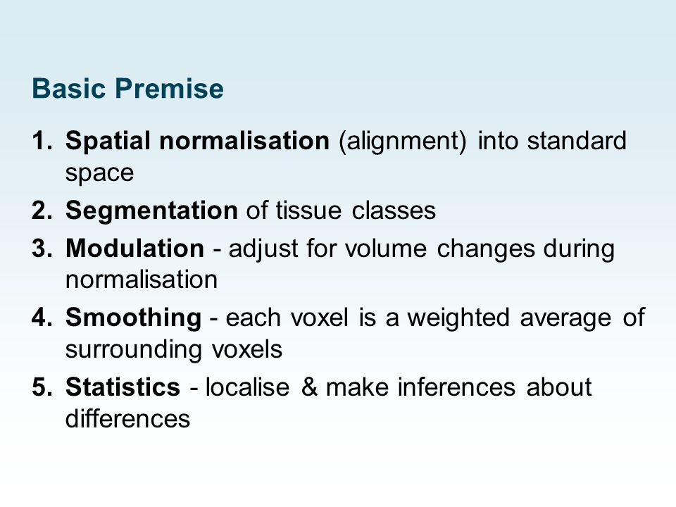 Basic Premise Spatial normalisation (alignment) into standard space