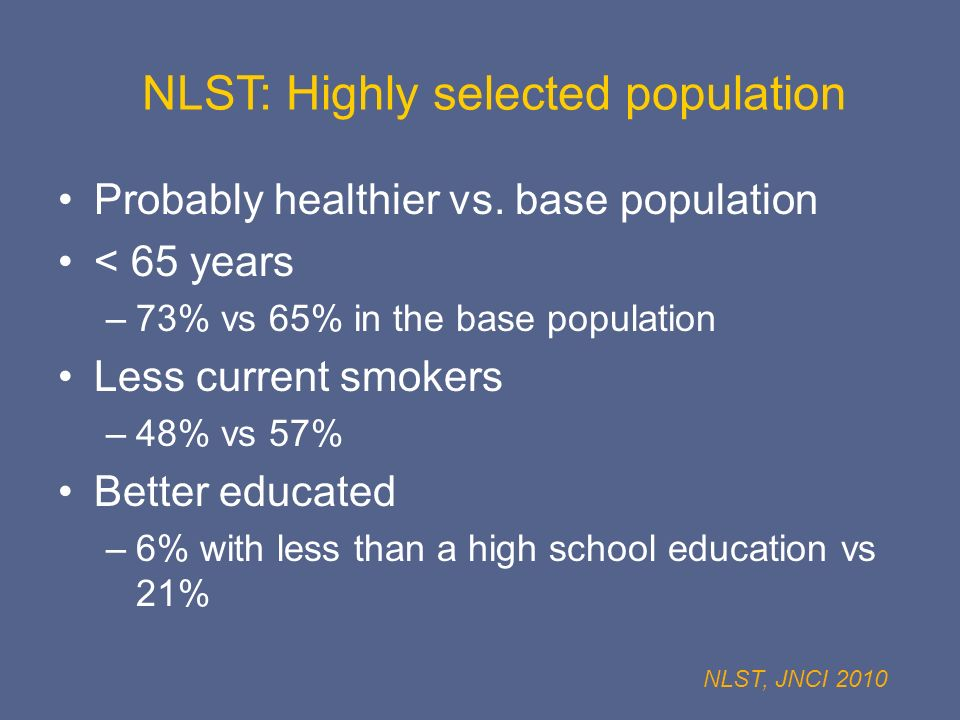 NLST: Highly selected population