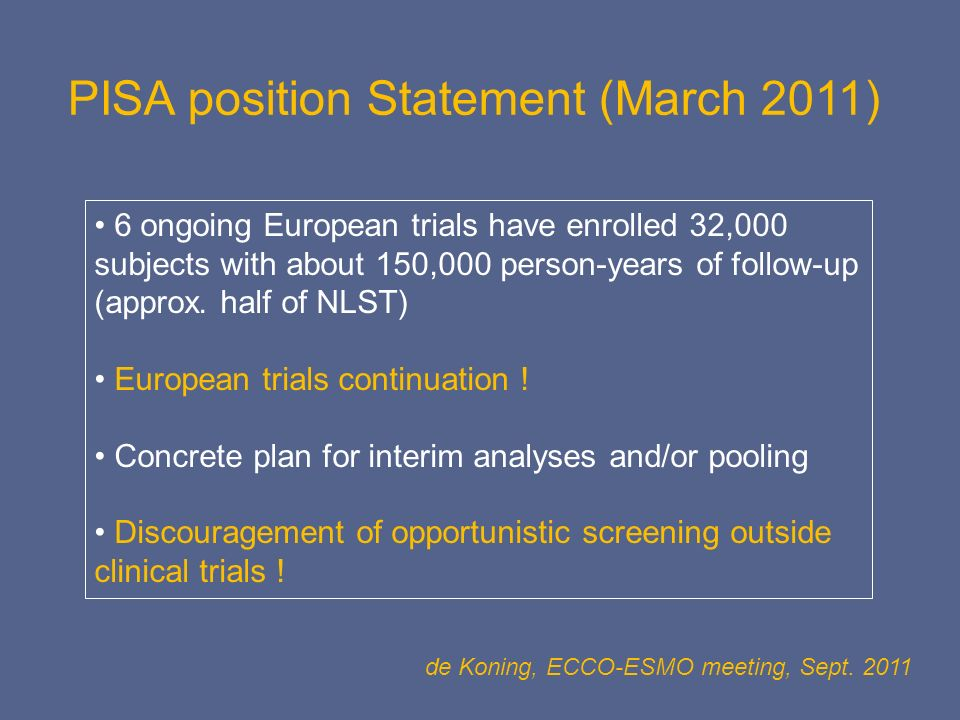 PISA position Statement (March 2011)