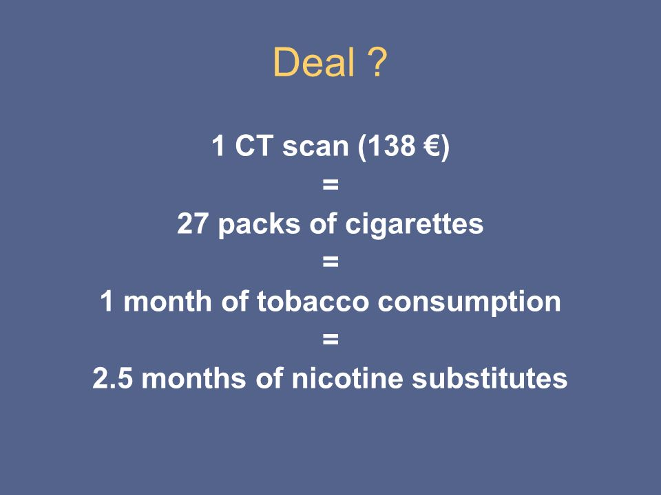 1 month of tobacco consumption 2.5 months of nicotine substitutes
