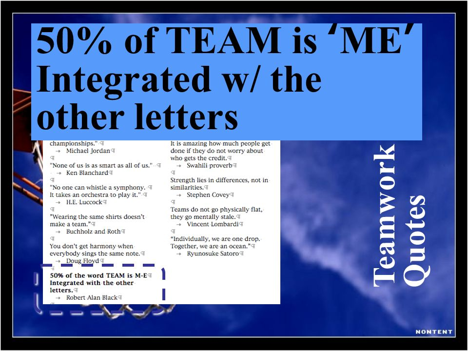 50% of TEAM is 'ME' Integrated w/ the other letters Teamwork Quotes