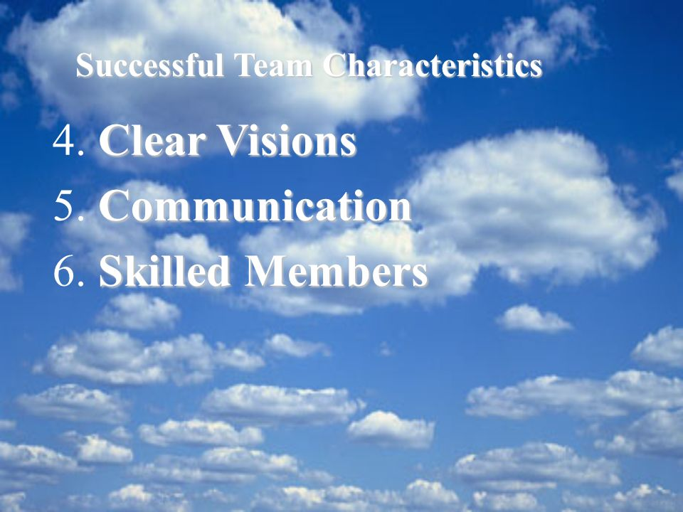 4. 5. 6. Clear Visions Communication Skilled Members