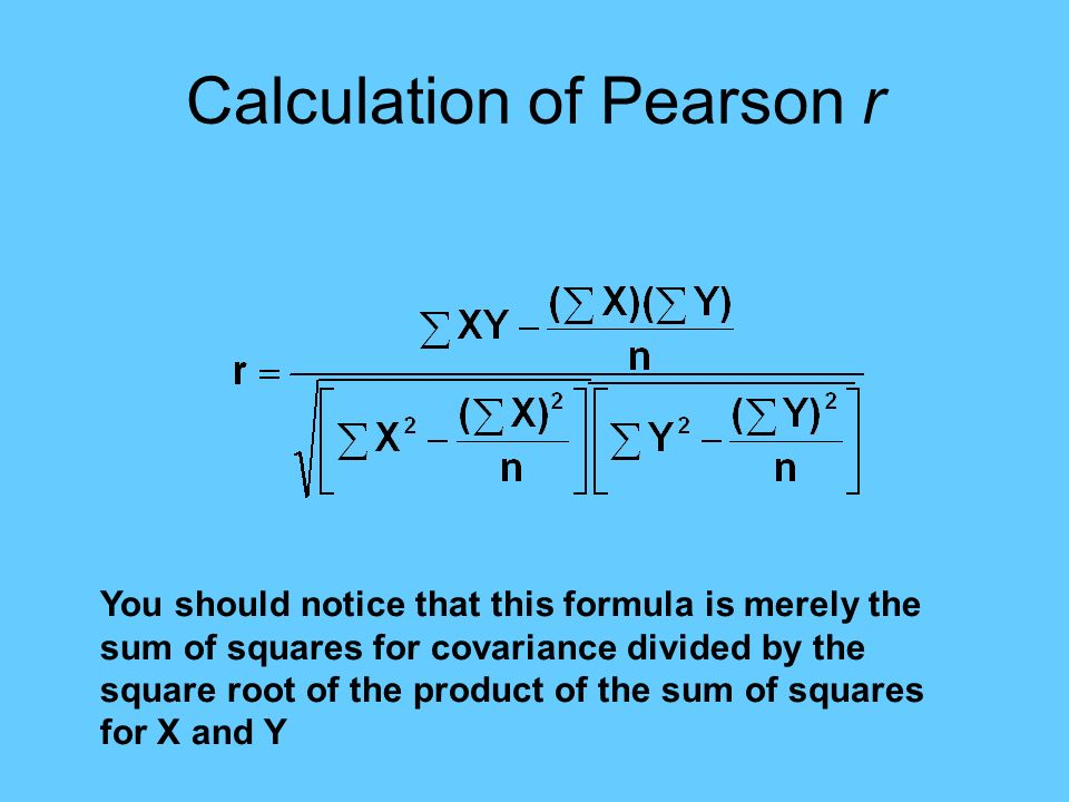 Calculation of Pearson r