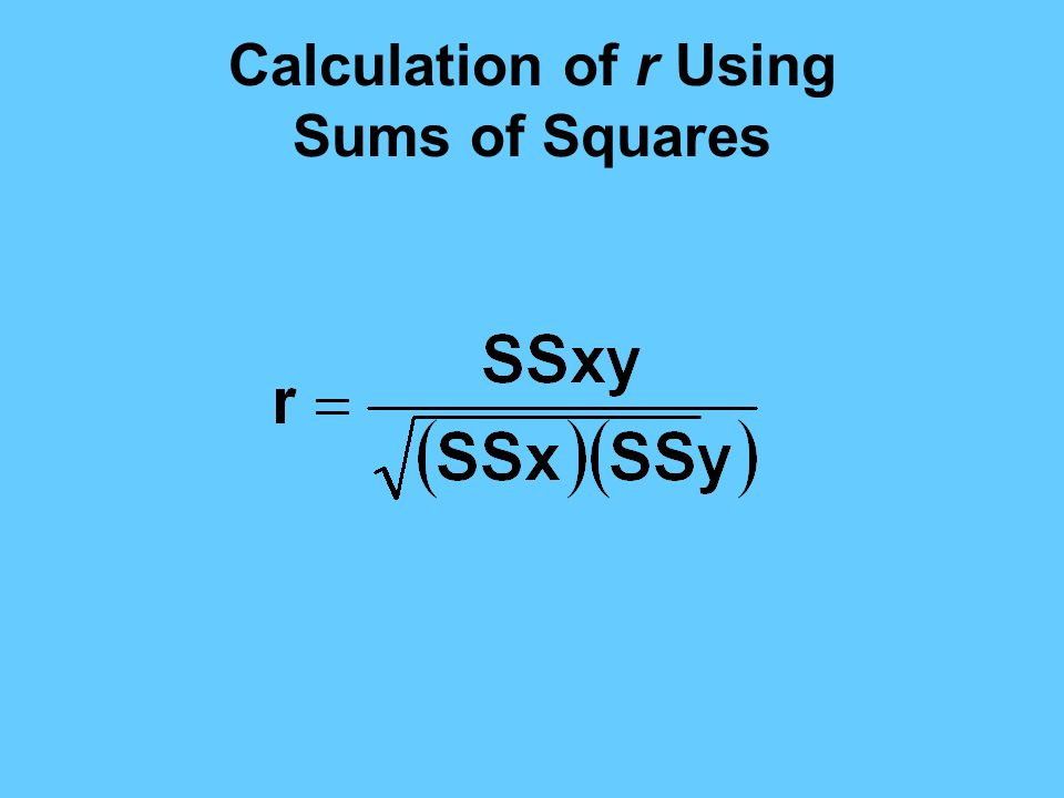 Calculation of r Using Sums of Squares