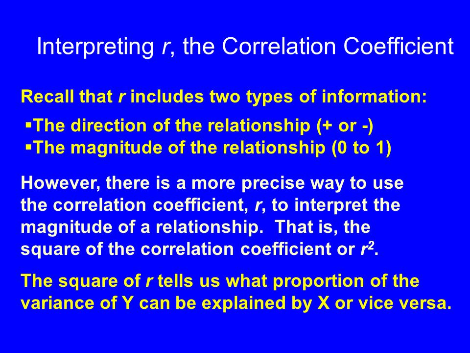 Interpreting r, the Correlation Coefficient