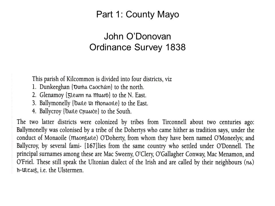 Part 1: County Mayo John O'Donovan Ordinance Survey 1838