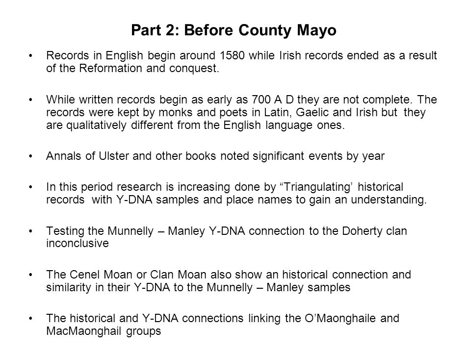 Part 2: Before County Mayo