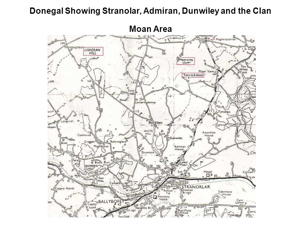 Donegal Showing Stranolar, Admiran, Dunwiley and the Clan Moan Area