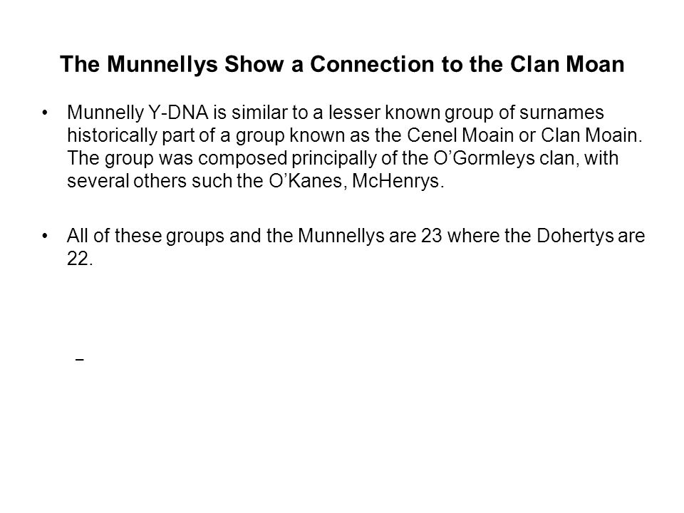 The Munnellys Show a Connection to the Clan Moan