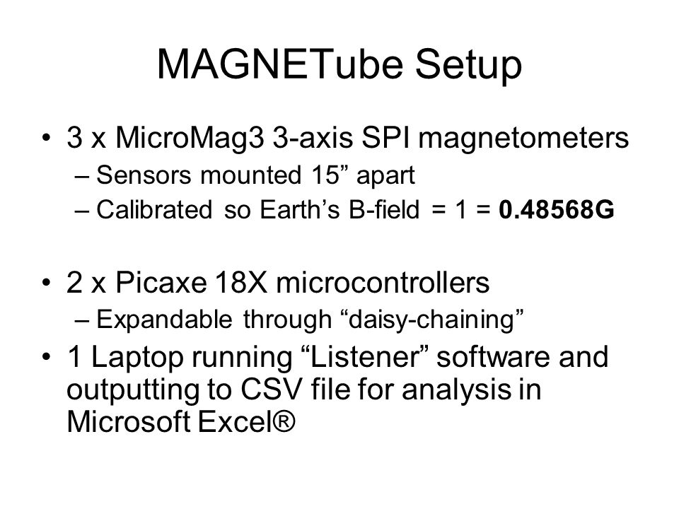 MAGNETube Setup 3 x MicroMag3 3-axis SPI magnetometers