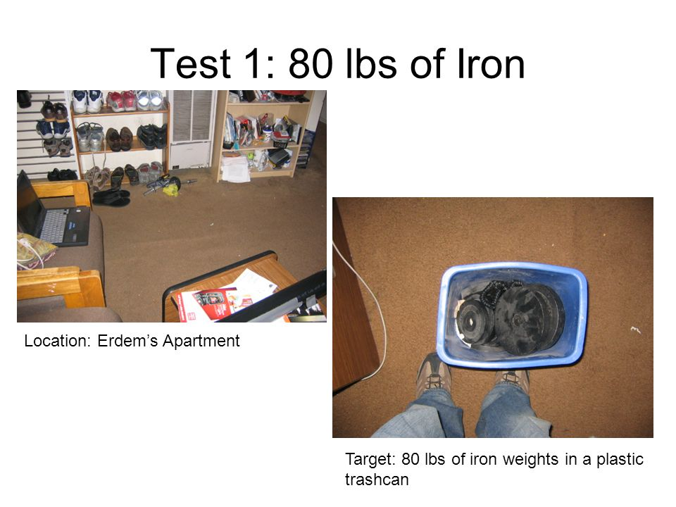 Test 1: 80 lbs of Iron Location: Erdem's Apartment