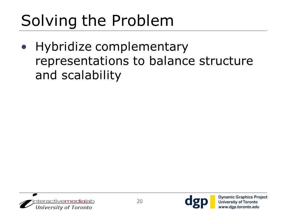 Solving the ProblemHybridize complementary representations to balance structure and scalability.