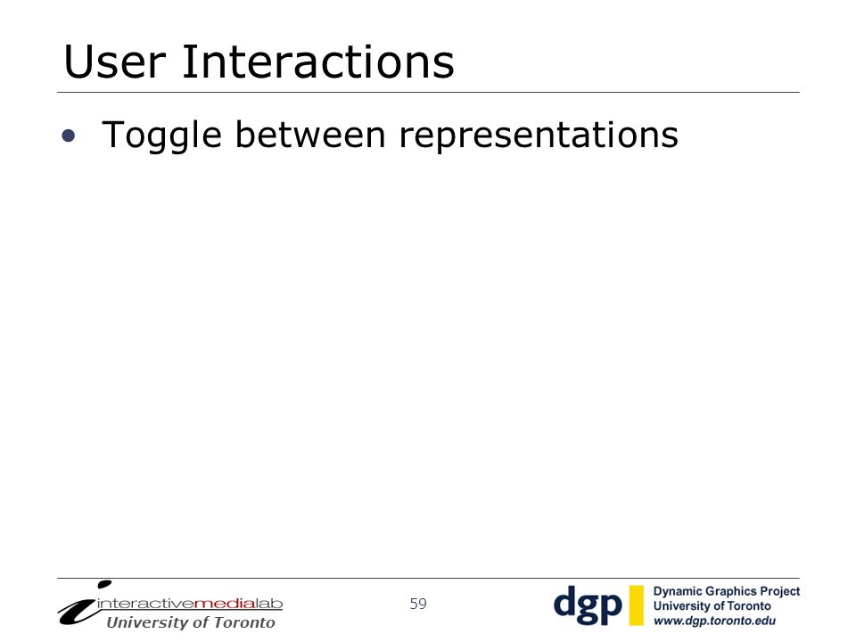 User Interactions Toggle between representations