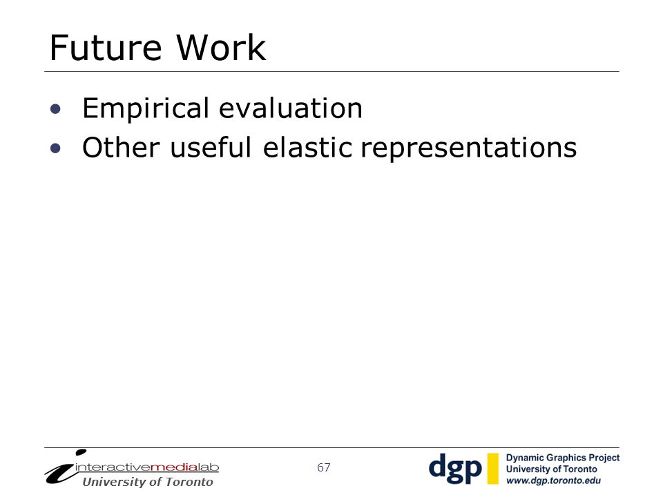 Future Work Empirical evaluation Other useful elastic representations