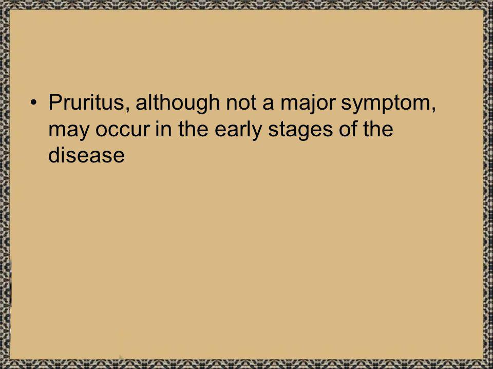 Pruritus, although not a major symptom, may occur in the early stages of the disease