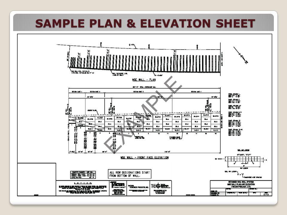 SAMPLE PLAN & ELEVATION SHEET