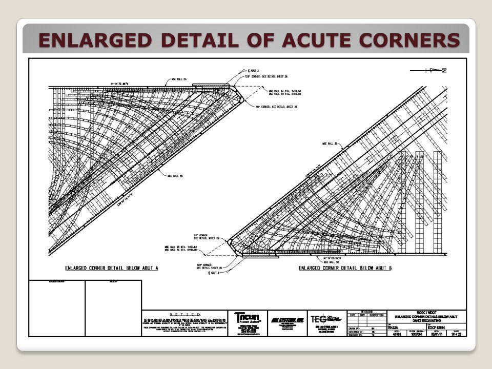 ENLARGED DETAIL OF ACUTE CORNERS