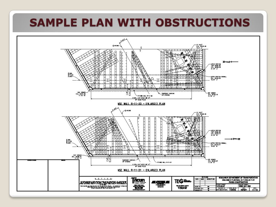 SAMPLE PLAN WITH OBSTRUCTIONS