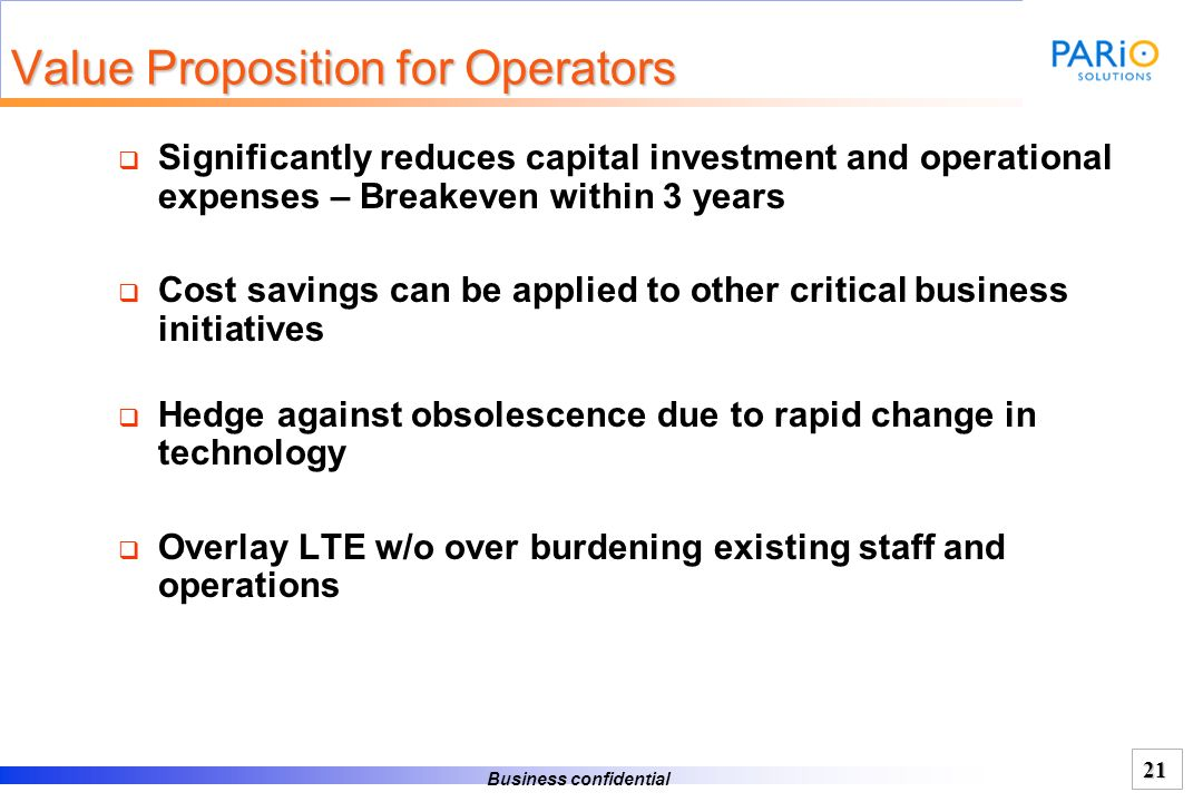 Value Proposition for Operators