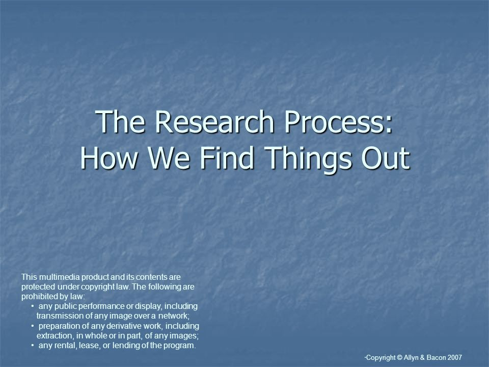 The Research Process: How We Find Things Out