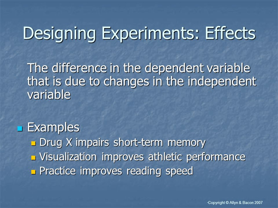 Designing Experiments: Effects